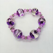 Purple Stretch Beaded Grandma Bracelet Mothers Day Gift NEW