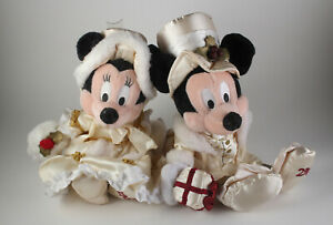 """Disney 10"""" Plush Mickey Minnie Mouse Victorian Christmas Collectible Plush LOT"""
