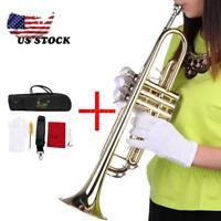 Beginner Trumpet Bb B Flat Brass Gold with Gloves Accessories Kit Case Fast Ship
