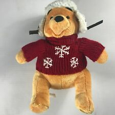 "Disney Store Pooh Bear Plush 16"" Stuffed Cozy Cables Hat Sweater Winter Stamped"