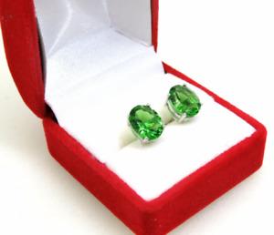 E10608P Mt St Helens Green Helenite  Sterling Silver Post Earrings