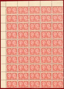 Canada 1897 #53, Jubilee 3c, Bright Rose, Block of 50, MNH, OG, SCV $3750.00