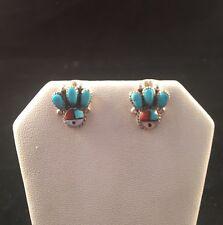 Native American Zuni Handmade Multi Stone Inlay Sun Face Stud Earrings
