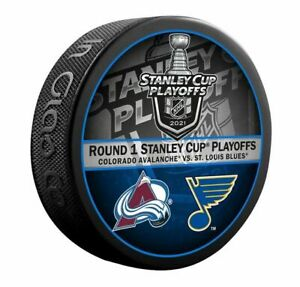 COLORADO AVALANCHE vs ST. LOUIS BLUES 2021 STANLEY CUP PLAYOFFS NHL DUELING PUCK