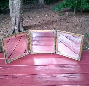 Antique Victorian Wall Hanging Tri-Fold Three Panel Beveled Mirror