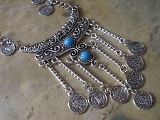 Damen Vintage Bohemian Statement Kette Halskette Farbe Silber Türkis 1651