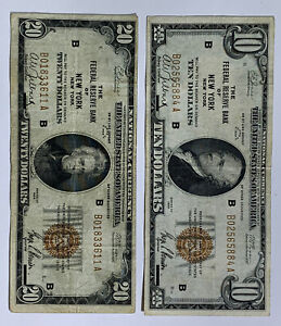 1929 THE FEDERAL RESERVE BANK OF NEW YORK NY $10 & $20 B SERIES LOT OF 2 NOTES