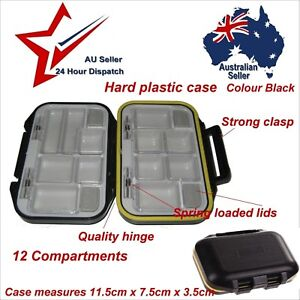 Small 12 Compartment Hard Plastic Storage Case - Fishing Flies Hooks Carry Box