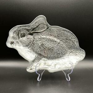 Turkish Glass Silvered Rabbit Bunny Shaped Candy Dish Serving Plate Trinkets