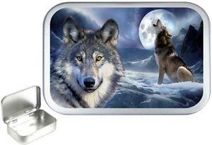 Wolf Moon 1oz Silver Hinged Tobacco Tin, 50ml Hinged Tin, Camping tin