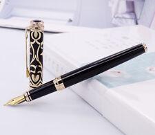 Duke Noble Sapphire Metal Fountain Pen Iridium Medium Nib Black-Gold Cap Ink Pen