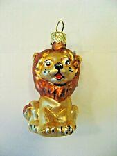 "Hand Blown Lion Glass Christmas Ornament - 2.25""T"