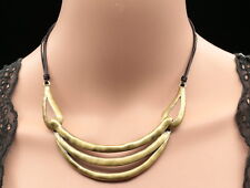 layer metal brass plated choker black leather necklace wedding party jewelry N42