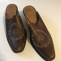 Ariat Women Size 7 Narrow Mules Shoes Slide Brown Leather Beaded