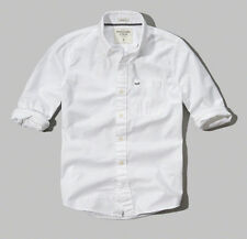 NWT Abercrombie Mens Twill Classic White Button Down Dress 2XL Casual Shirt XXL