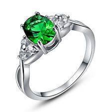 Gift White Emerald Fashion Jewelry Gemstone Silver Ring Size 6 7 8 9 10 11 12 13