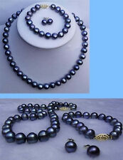 9-10mm black tahitian Natural Pearl necklace bracelet earrings Jewelry set AA