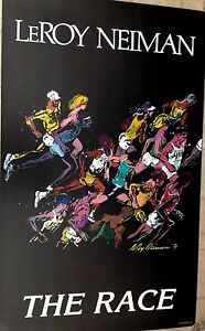 """1979 LeRoy Neiman """"The Race"""" Litho Poster of Serigraph, 38x23"""", Vintaage, Great"""