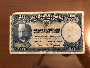 BANCONOTA BANCA NAZIONALE ALBANIA 20 FRANCHI ORO MB numismatica SABAUDA