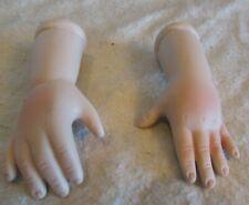 """Vintage porcelain//bisque open hands arms 3/""""  unpainted baby doll parts L"""