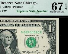 2006 $1 Chicago Federal Reserve Note *REPEATER* Serial FRN 1933-G PMG 67 EPQ
