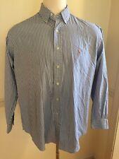 Polo Ralph Lauren 17 35 Button Front Blue Stripe Yarmouth Men's L/S Shirt Oxford