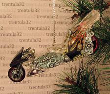 Drag Bike Chopper Motorcycle clear black red CHRISTMAS TREE ORNAMENT XMAS