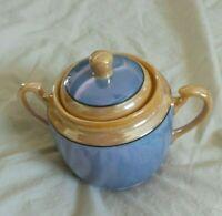 Vintage Blue Gold Iredescent Porcelain Larger Sugar Bowl Made in Japan 5