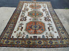 Old Ardebil rug 7.3 x10.7 Pictorial carpet lovely Ivory Piece ca.1940s