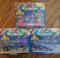 3 LOT Vintage 1994 Mighty Morphin Power Rangers Micro Machines Red Black & Blue