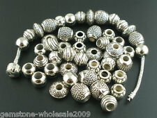 50PCs Mixed Tibetan Silver GP Round Loose Spacer Beads Jewelry Findings DIY GW