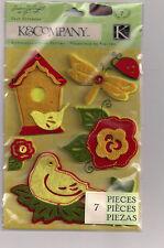 K&Company Susan Winget MEADOW felt 3D Stickers birdhouse birds ladybug butterfly