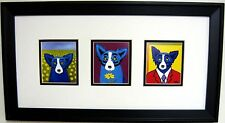 "GEORGE RODRIGUE BLUE DOG NOTE CARDS - FRAMED - 22"" x 12"""