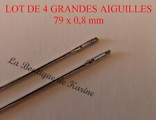 LOT DE 4 GRANDES AIGUILLES 79 x 0,4 mm - CREATION BIJOUX PERLES AC3