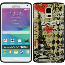 For Samsung Galaxy Note 4 - HARD RUBBER GUMMY GEL CASE PARIS EIFFEL TOWER LOVE