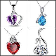 Wholesale 4 pcs 925 Sterling Silver  Amethyst Crystal Heart Swan Drop Necklace