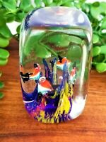 Murano Style Art Glass Paperweight Fish Aquarium Seascape Blue Purple Orange Red