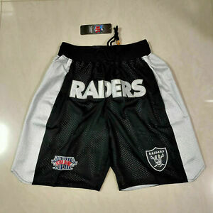 Oakland Raiders Hot sale With Pocket Embroidery Sewn Black Football Shorts