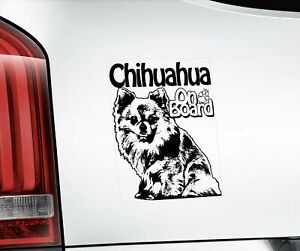 Chihuahua Sticker, Dog Window Decal Car Stickers Gift Bumper Sign Laptop -V02BLK