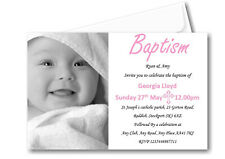 50 Personalised Girls Pink Baptism Day Invitations Invites Ref C60