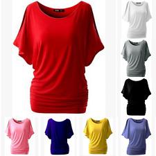 UK NEW Womens Short Sleeve Plain Loose Tops T Shirt Ladies Casual Summer Blouse