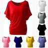 UK NEW Womens Short Sleeve Plain Loose Tops T Shirt Ladies Casual Summer Blouse