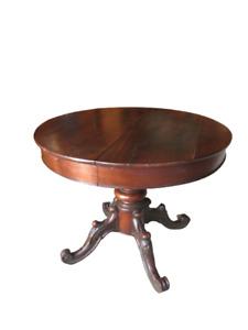 Piccolo tavolo tondo-rotondo allungabile in noce con gamba centrale meta' '800
