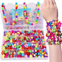 Girls Kids DIY Bracelet Arts Craft Make Own Beads Jewellery Making Set Box Kit/~