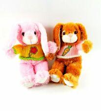 "Kids Prefered easter bunny plush set 2012 soft toy pink brown 11"" spring time"