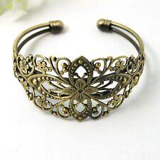 1pc Brass Cuff Bangles Adjustable Filigree Flower Blank Setting Bracelet Making