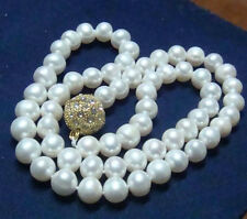 """Charming!8-9mm Real Natural White Akoya Cultured Pearl Magnet Clasp Necklace 18"""""""