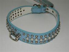 Collare cani DOG LINE con strass e perle Azzurro Varie misure M205