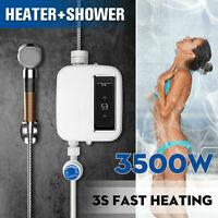 Mini Tankless Electric Shower 3S Instant Hot Water Heater Bathroom 3500W 220V