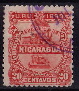 NICARAGUA 1890 Sc#24 Locomotive Telegraph Early Issue 20 c red STAMP